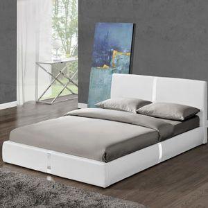 lit adulte 140x190 blanc achat vente pas cher. Black Bedroom Furniture Sets. Home Design Ideas