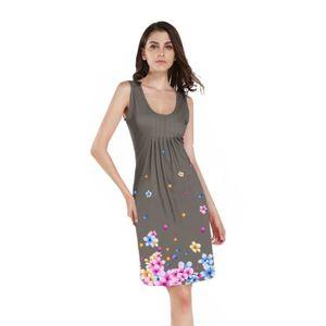 9e946dd3026 ROBE Mode Femmes Robe Sans Manches O Cou Floral Imprimé ...