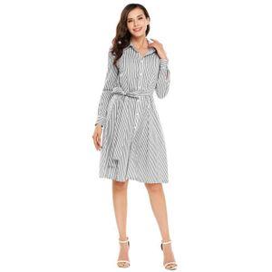 ROBE Shirt décontractés pour femmes Robe rayée à col To