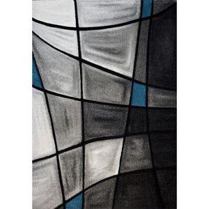 TAPIS BRILLANCE Tapis de salon turquoise, noir et gris