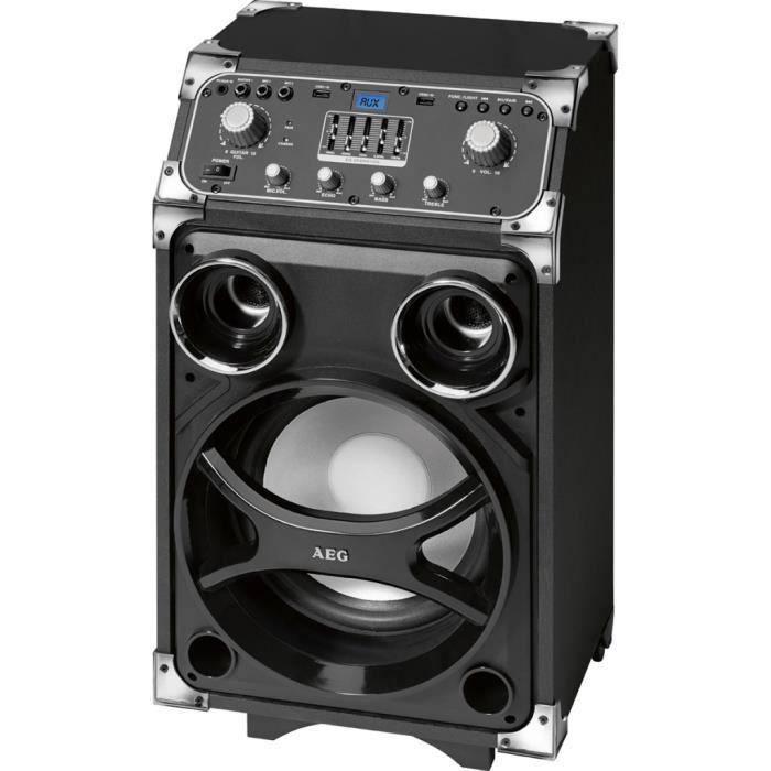 AEG 4829 Enceinte Karaoke Bluetooth / MP3 / 2 USB / Entrée Guitare ou Microphone - 100 W - Lumière disco à 7 Couleurs