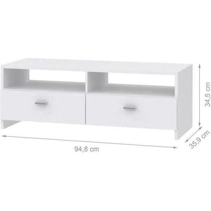 Panneaux de particules blanc - L 95 x P 34,6 x H 35,8 cm - 2 abattants - 2 nichesMEUBLE TV - MEUBLE HI-FI