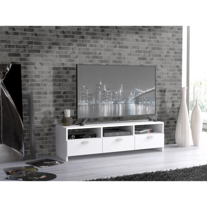 Panneaux de particules blanc - L 94,7 x P 34,6 x H 35,8 cm - 3 abattants - 3 nichesMEUBLE TV - MEUBLE HI-FI