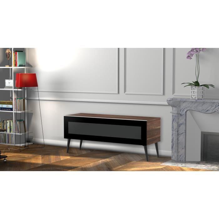 MELICONI LINKOPING 120 Meuble TV - Longueur 120 cm - Porte abattante finition VERRE INFRAROUGE - Pieds Scandinaves couleur Noir