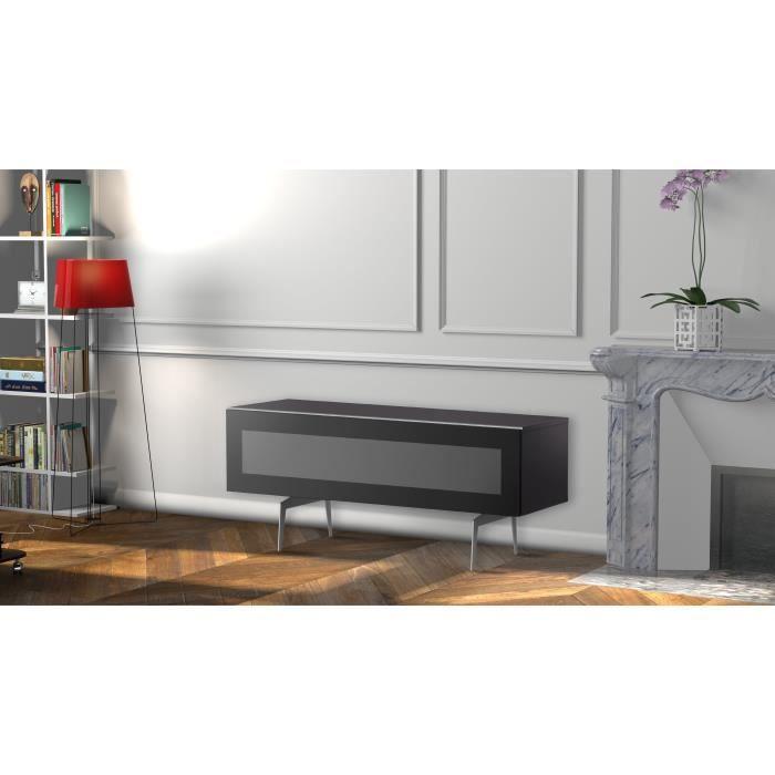 MELICONI NEW CASTLE 120 Meuble TV - Longueur 120 cm - Porte abattante finition VERRE INFRAROUGE - Pieds Vintages couleur Silver