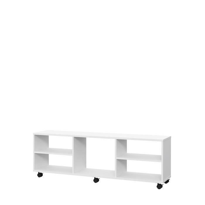 PILVI Meuble TV sur roulette - Blanc mat - L 140 x P 30 x H 40 cm