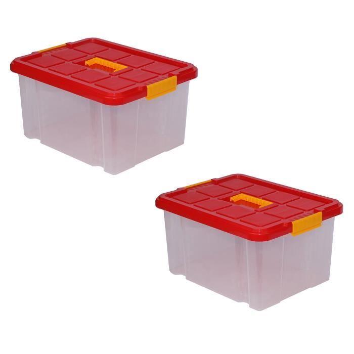 en soldes 66e40 9bf5f Lot de 2 boîtes de rangement plastique, transparente avec couvercle Bac à  superposer ou empiler 27L 44 x 35 x 24 cm