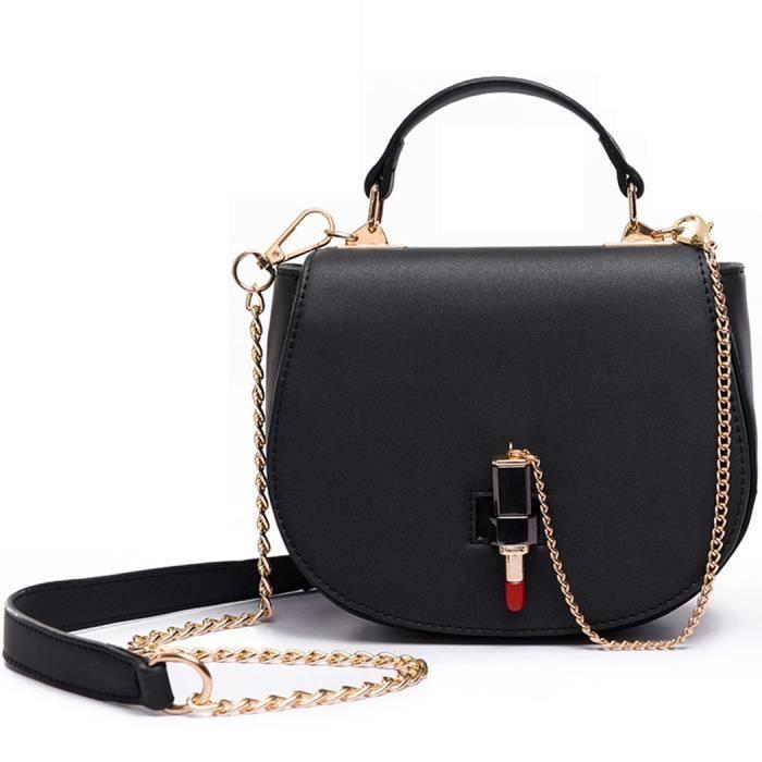 27b1aba4f1 FAIRYSAN Femmes élégante cuir selle sac à bandoulière rouge à lèvres sac à  main petit avec sangle chaîne noir