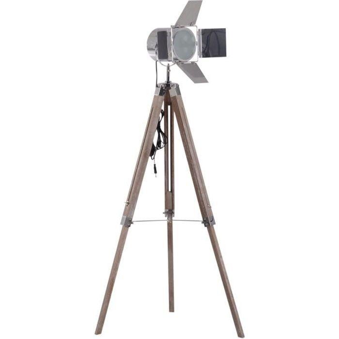 Lampadaire Trepied Projecteur Pivotant Style Industriel Neo Retro