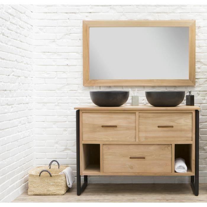 LOFT Ensemble salle de bain double vasque en bois et placage teck ...