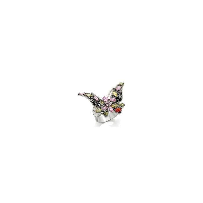 Isady - Jeannine - Bague femme - Or blanc rhodié - oxyde de zirconium Multicolore - forme papillon