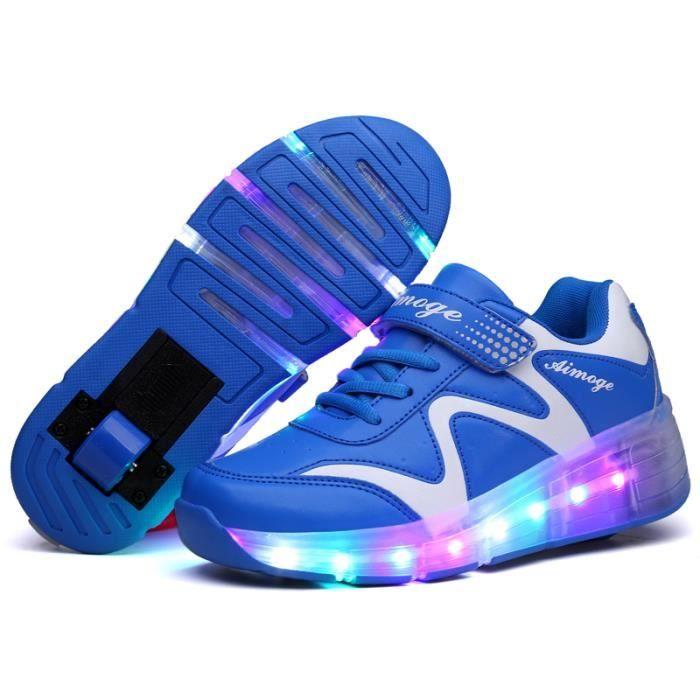 Baskets Enfants LED Chaussures Lumineuse à Roulettes Garons Filles Sneakers Avec Roues Automatique De Patinage Chaussures