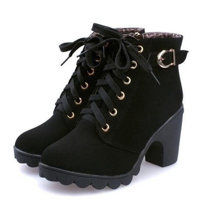 Mode Hiver Bottnes Femmes Epais Talon Bloc Moyen Chaussures Plateforme