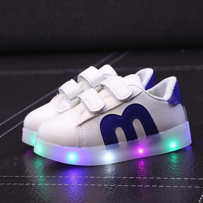 0f1b9e6124491 Chaussures de patins enfant en bas âge Chaussures de bébé enfant LED  allument des baskets lumineuses Bleu XYY71207511BU