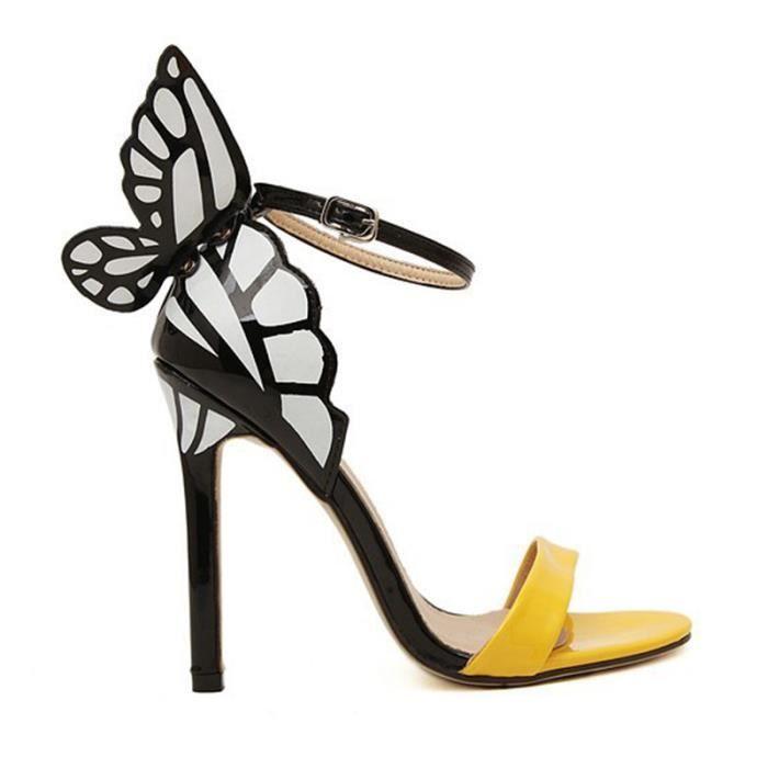 Sandales a talons hauts avec personnalite pour le mariage colorees avec la decoration de papillon bouts ouverts pointues pompes