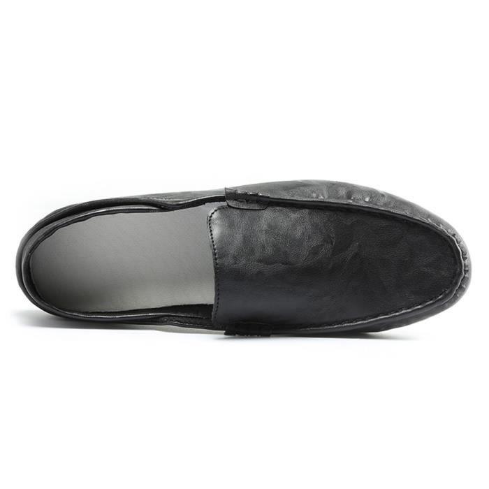 souple en respirant cuir Sidneyki®Hommes sur Conduite Flat les chaussures Slip ASD661 Trim Casual Noir 5qFddnfWx