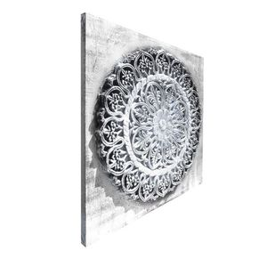 TABLEAU - TOILE Toile peinte relief carreaux de ciment - Fleur dor