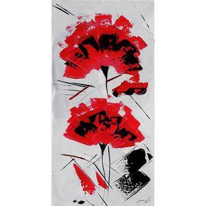 1420e17ff99d TABLEAU - TOILE FLEUR ROUGE ET BLANCHE Toile peinte 30x60 cm Blanc