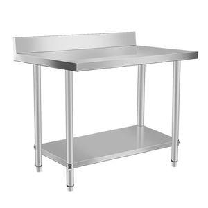 TABLE MURALE Table de travail de cuisine 2 couches en acier ino