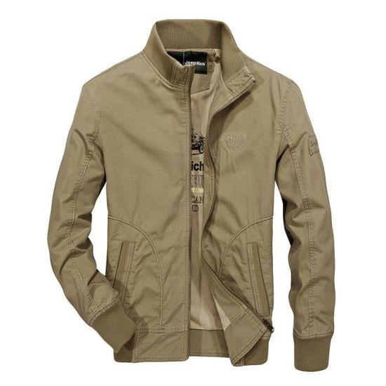 Zipper Hommes Col Manteau Militaire Mode Coton Automne De Veste Pied Hiver Kaki xEwTqwI