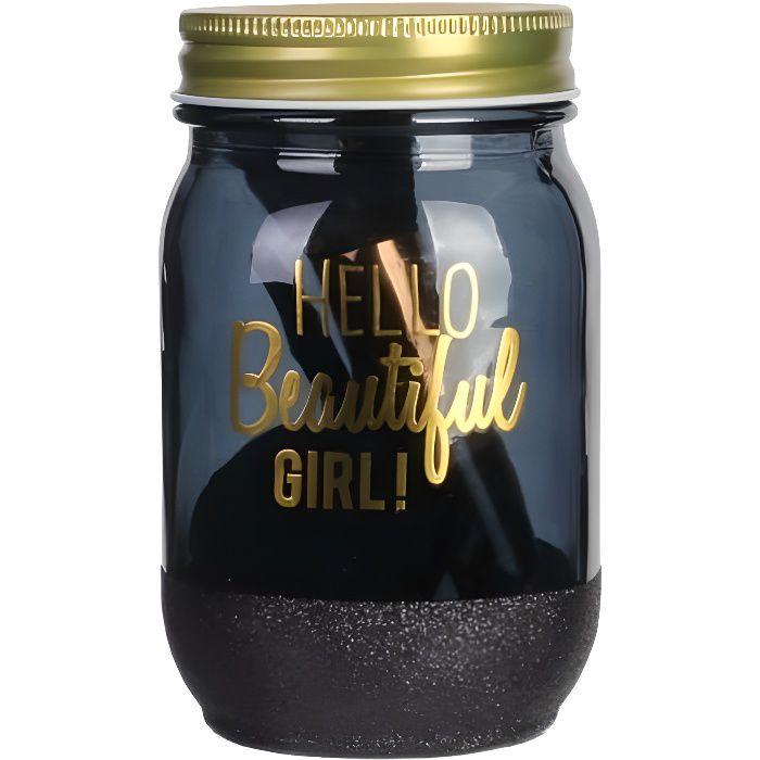 COSMETIC CLUB Coffret maquillage en bocal Mason Jar Beauté - 4 pièces - Noir et doré
