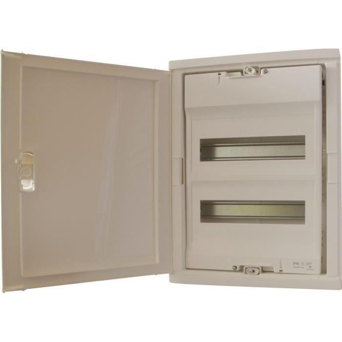 LEGRAND Coffret électrique nu à équiper encastré avec porte isolante galbée 2 rangées 24+4 modules blanc