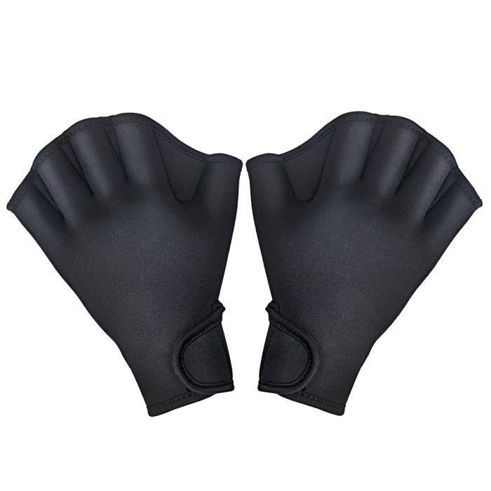 1 paire Gants de natation aquatique fitness résistance à l'eau Aqua fit paddle Entraînement des gants sans doigts M Noir