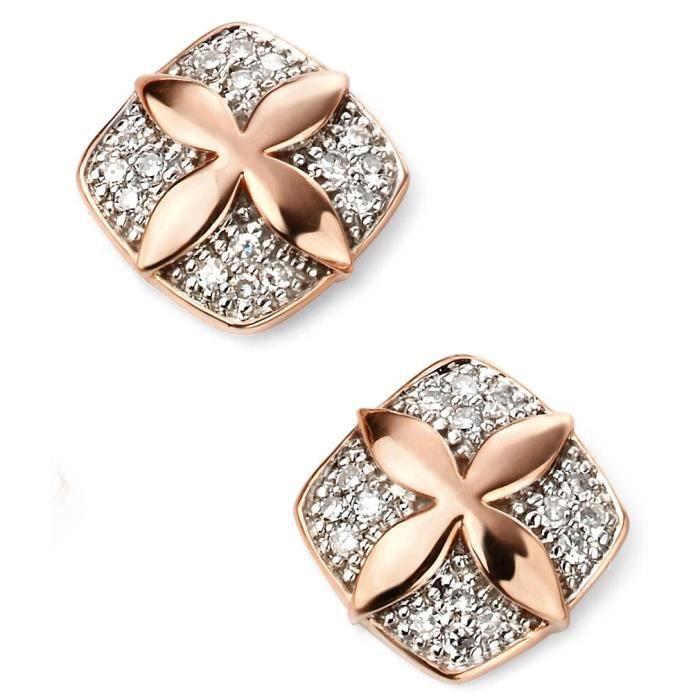 D2087 - Superbe Boucle doreille diamant en Or rose 375/100