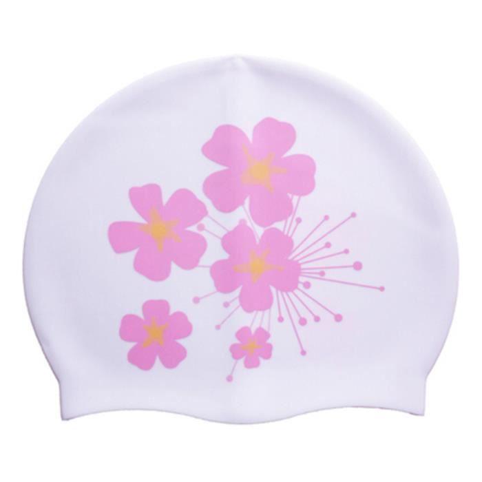 Bonnet de bain Professional Ear Protection étanche Swim Cap Impression Blanc c07bbc84e18