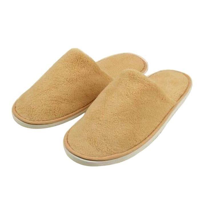 [Kaki] 10 paires fermé Toe Chaussons velours corail à usage unique Chaussons