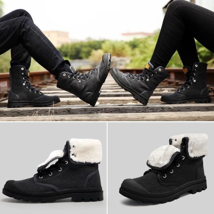 d'hiver style Femmes Hommes Mode de Bottes toile de Deux Bottes Chaussures fourrure wOfqxtnPP5