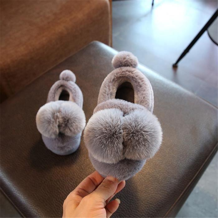 Ballon Chausson Coton Haut qualité Mignon Chaussons Enfant Hiver Plus De Cachemire Chaussure Confortable Taille 14-19
