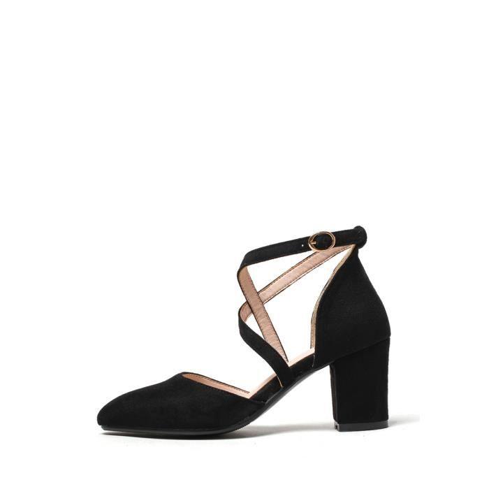 Talons Place de la femme Pompes Chic Croisement Sangle solide Chaussures Casual 3634318