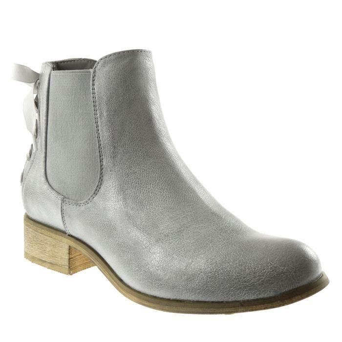 Angkorly - Chaussure Mode Bottine chelsea boots cavalier effet vieilli femme Lacet ruban satin Talon bloc 3.5 CM - Argent - F911 T 9JJqz