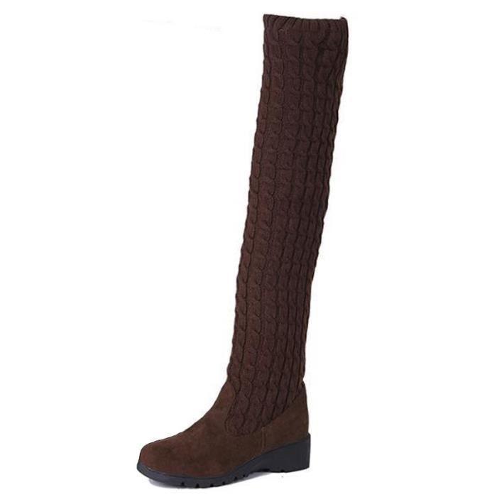 Automne patchwork hiver femmes bottes hautes laine dames bottes longues tricot noir sexy sur Cuissardes chaussures d'hiver
