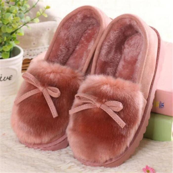 Chausson femme hiver chaud maison léger version pantoufles peluche chaussures femmes de luxe de marque Plus De Couleur 36-40