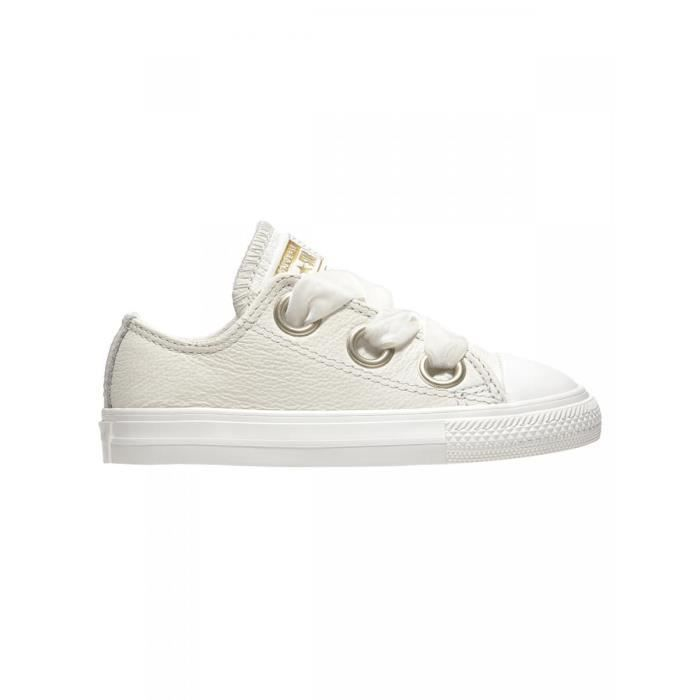8166ff12544 CONVERSE - Baskets cuir chuck taylor all star basse blanc lacets ...