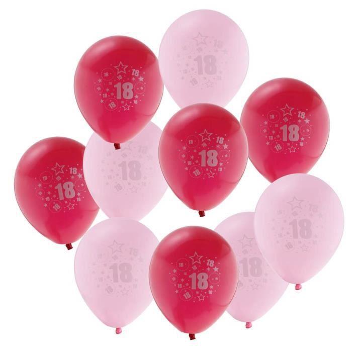 10 Pièces Ballon de Latex Age 18 Décoration pour Fête d\u0027anniversaire DE 18  Ans , Rose Rouge