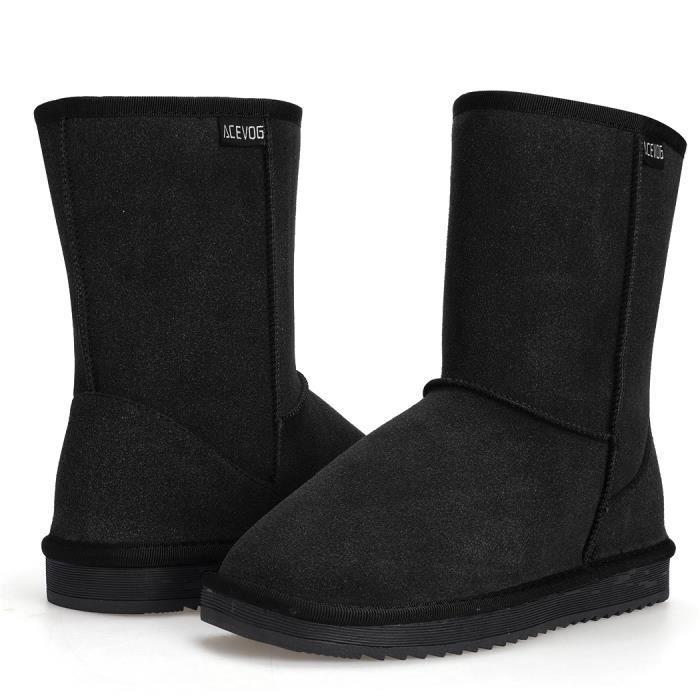 Bottines chaussure de neige hiver bottines chaud fausse fourrure plat Casual femmes