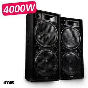 PACK SONO Paire d'enceinte Sonorisation 4000W PRO DJ MAX-215