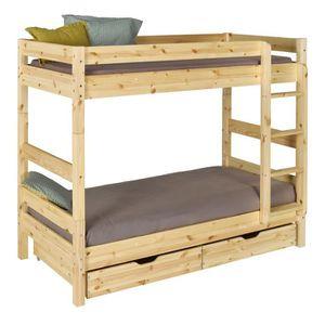 lit superpos avec rangement 90x190 bois massif naturel - Lit Superpose Avec Rangement