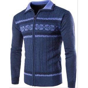 GILET - CARDIGAN Pull Homme Style Ethnique Imprimé Slim Fit Zipper ... 12c96c061b5c
