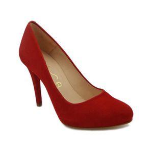 ESCARPIN Unisa décolleté chaussure en daim rouge avec talon