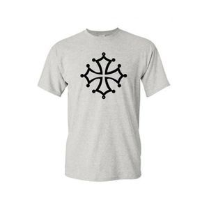 T-SHIRT T-shirt col rond enfant croix occitane gris 3-4-an