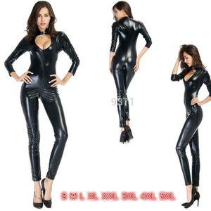 COQUE - COUSSINET Sexy Noir Catwoman Combinaison PVC Spandex Latex C