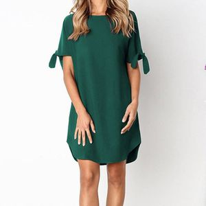 ff3d424a896 ROBE Robe Courte Femmes ronde Casual manches courtes Pa