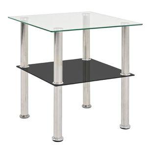 TABLE D'APPOINT Table d'appoint coloris inox-noir - Dim : L 40  x