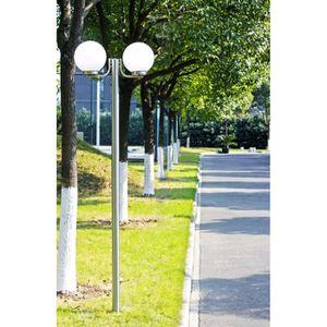 LAMPE DE JARDIN  Lampadaire avec 2 boules lampe Hauteur 220 cm en a