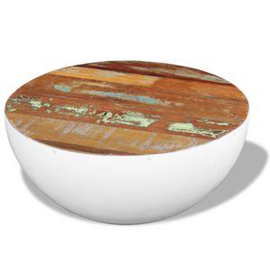 TABLE BASSE Cette table basse exotique faite en bois de récupé