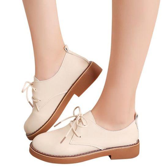 Chaussures pour dames Mode cheville plat chaussures en cuir pour Casual Bottes femme court qinhig439 Beige Beige - Achat / Vente botte